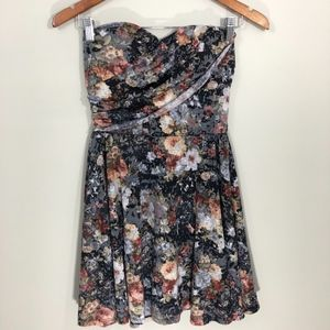 American Rag Strapless Black Floral Dress S